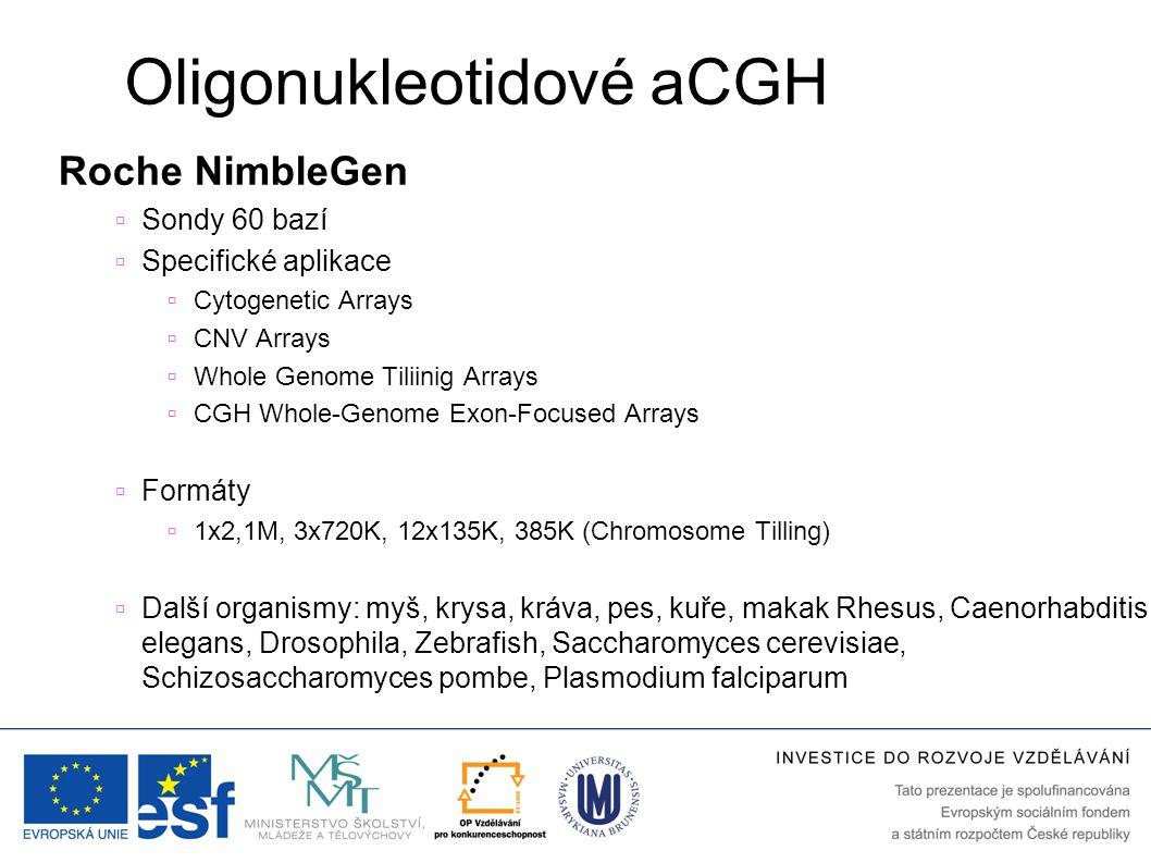 Oligonukleotidové aCGH Roche NimbleGen  Sondy 60 bazí  Specifické aplikace  Cytogenetic Arrays  CNV Arrays  Whole Genome Tiliinig Arrays  CGH Wh
