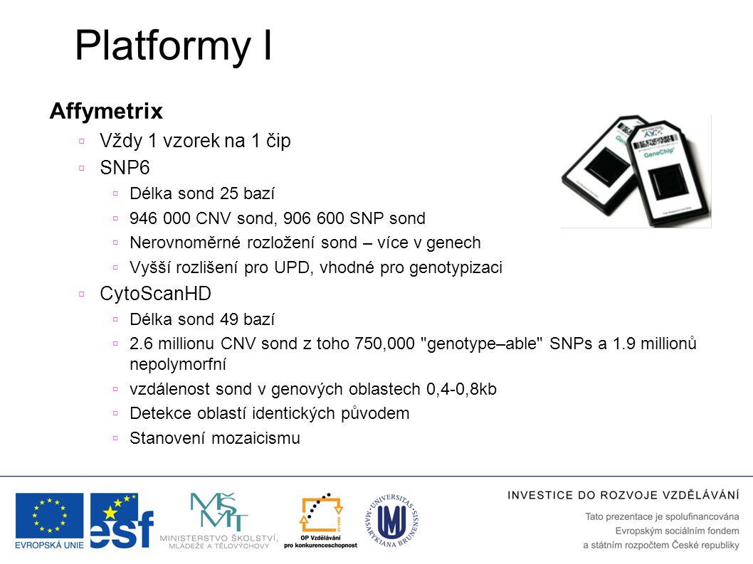 Platformy I Affymetrix  Vždy 1 vzorek na 1 čip  SNP6  Délka sond 25 bazí  946 000 CNV sond, 906 600 SNP sond  Nerovnoměrné rozložení sond – více