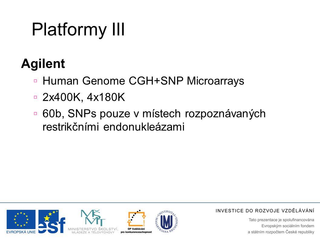 Platformy III Agilent  Human Genome CGH+SNP Microarrays  2x400K, 4x180K  60b, SNPs pouze v místech rozpoznávaných restrikčními endonukleázami