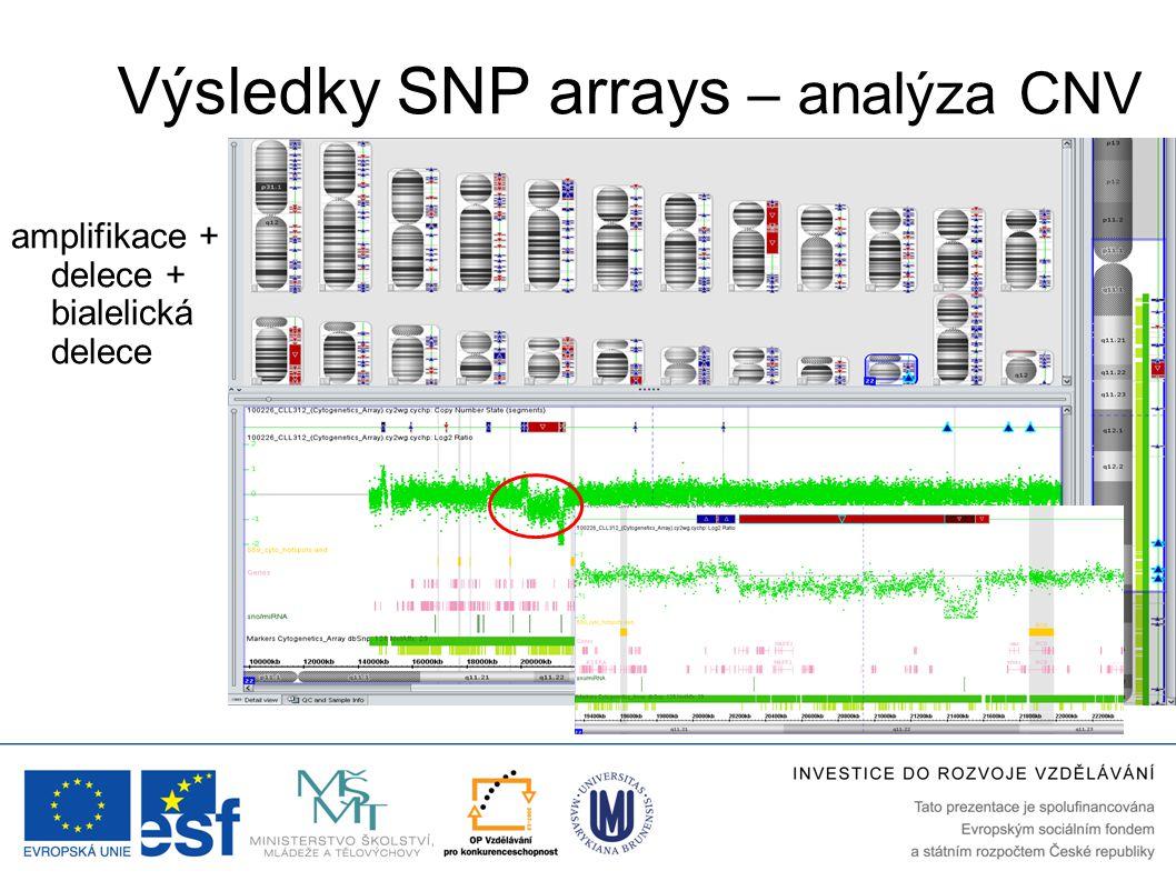 Výsledky SNP arrays – analýza CNV amplifikace + delece + bialelická delece