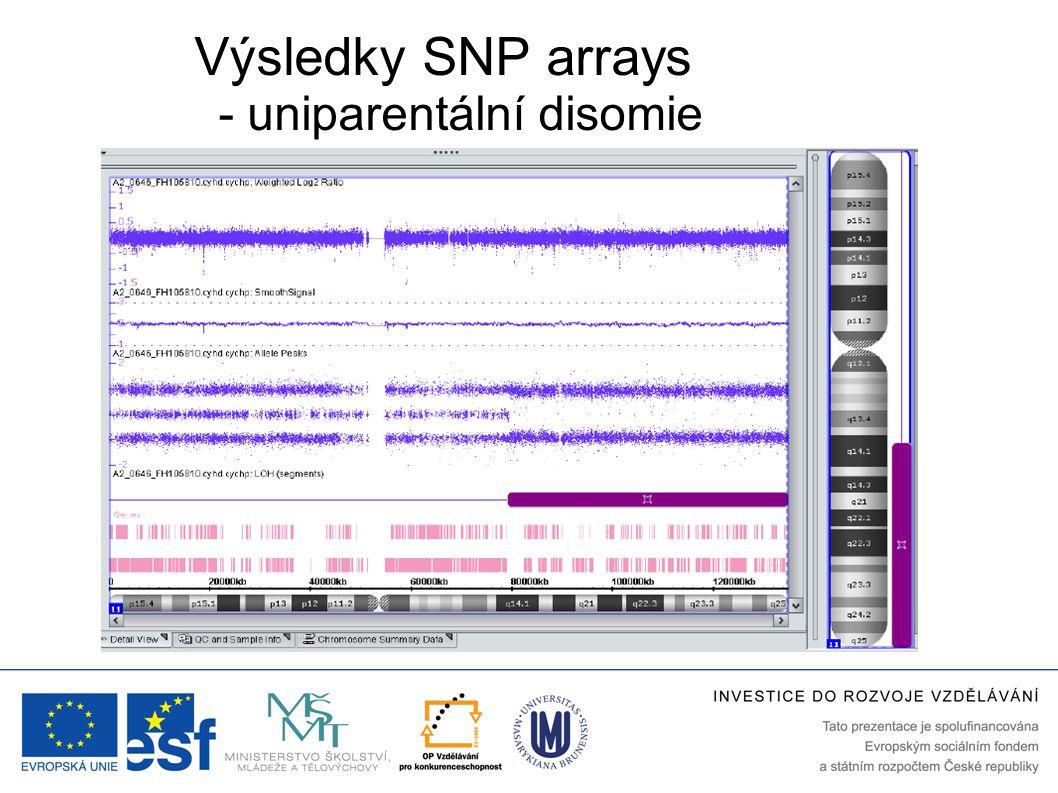 Výsledky SNP arrays - uniparentální disomie