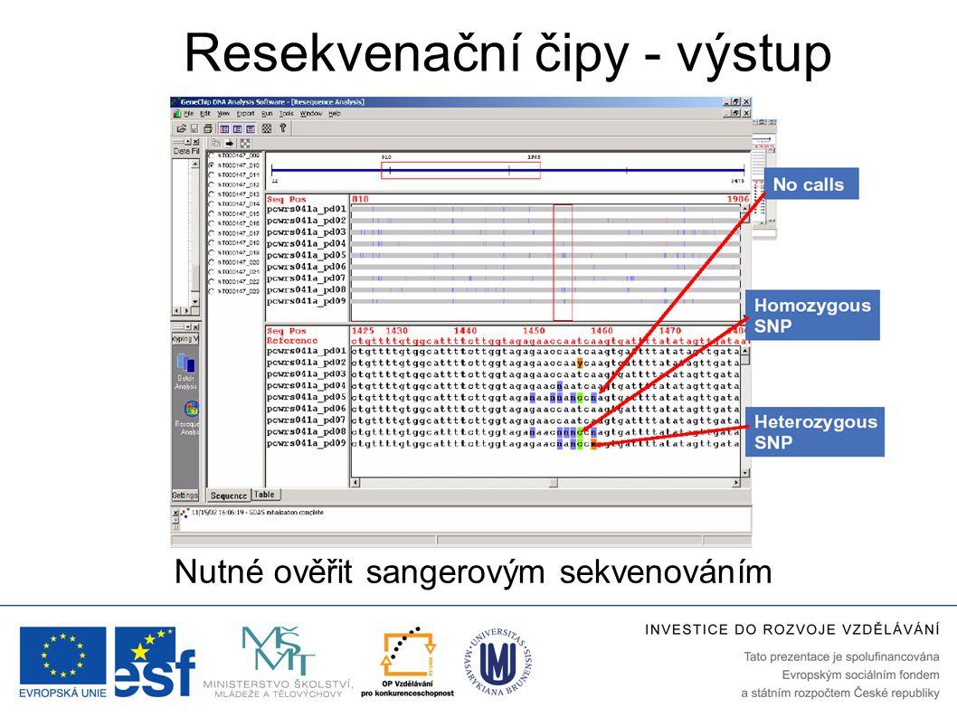 Resekvenační čipy - výstup Nutné ověřit sangerovým sekvenováním