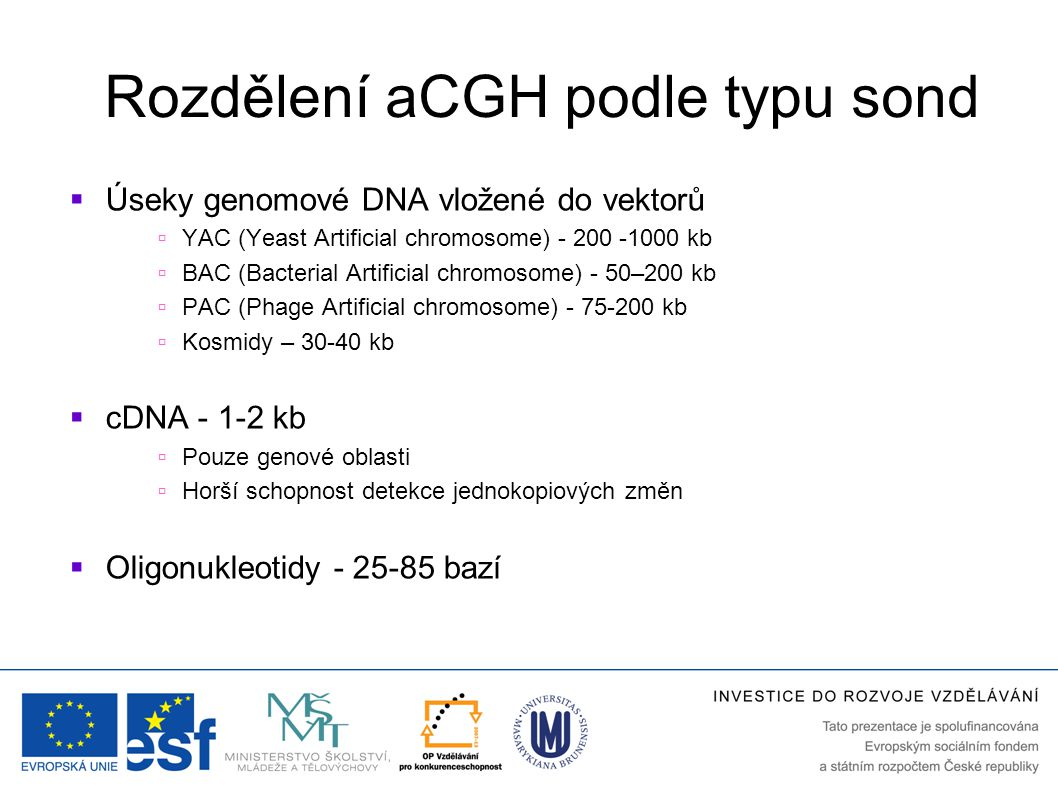 Rozdělení aCGH podle typu sond  Úseky genomové DNA vložené do vektorů  YAC (Yeast Artificial chromosome) - 200 -1000 kb  BAC (Bacterial Artificial