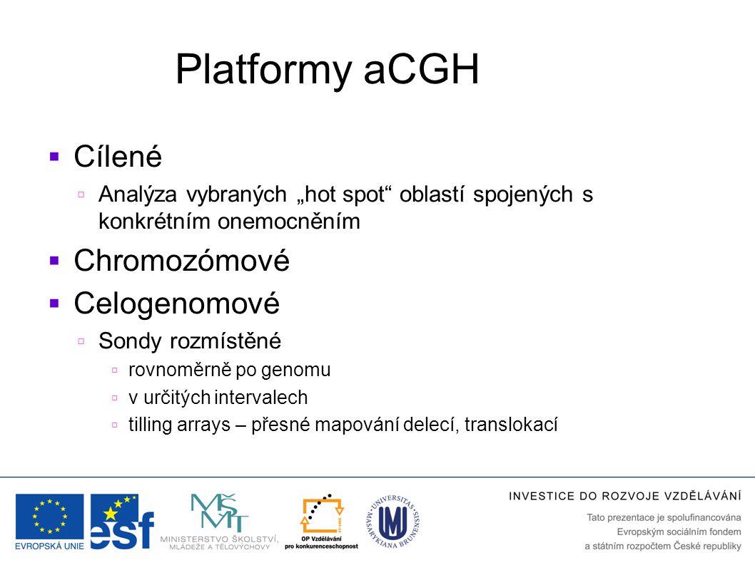 """Platformy aCGH  Cílené  Analýza vybraných """"hot spot"""" oblastí spojených s konkrétním onemocněním  Chromozómové  Celogenomové  Sondy rozmístěné  r"""
