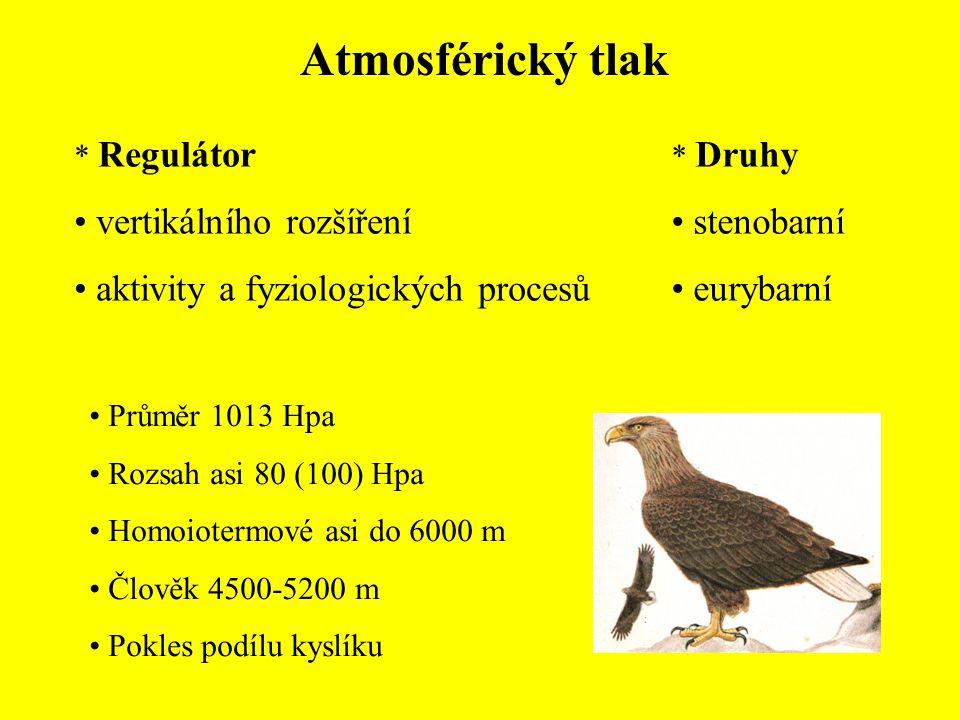 Hydrostatický tlak * Druhy stenobatické eurybatické * Ovlivňuje rozpustnost CO2 a jiných plynů ukládání vápníku Na 10 m o 1 kp Vodní živočichové 100-500 (600) kp Kesonová nemoc Hlubinná fauna