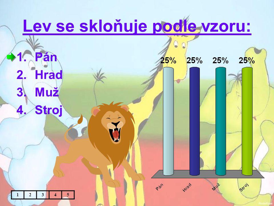 Lev se skloňuje podle vzoru: 1.Pán 2.Hrad 3.Muž 4.Stroj 12345