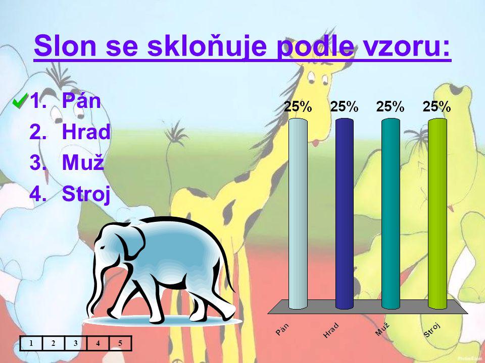 Slon se skloňuje podle vzoru: 1.Pán 2.Hrad 3.Muž 4.Stroj 12345