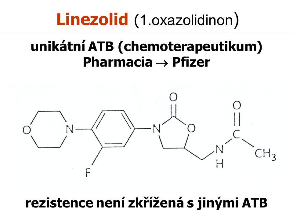 Linezolid ( 1.oxazolidinon ) unikátní ATB (chemoterapeutikum) Pharmacia  Pfizer rezistence není zkřížená s jinými ATB