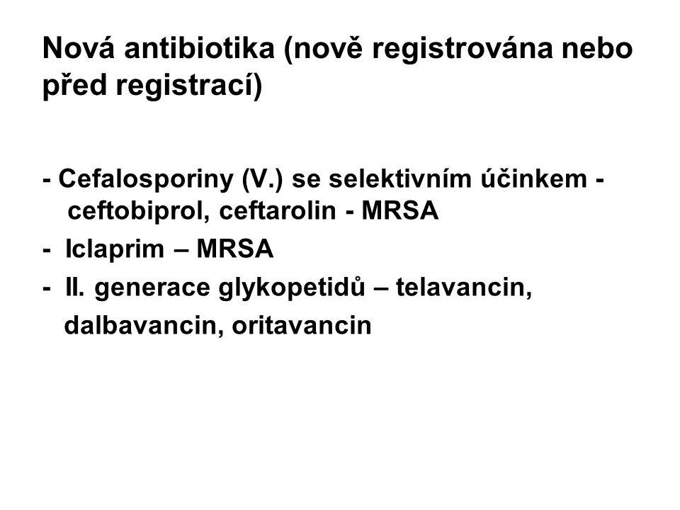 Nová antibiotika (nově registrována nebo před registrací) - Cefalosporiny (V.) se selektivním účinkem - ceftobiprol, ceftarolin - MRSA - Iclaprim – MRSA - II.