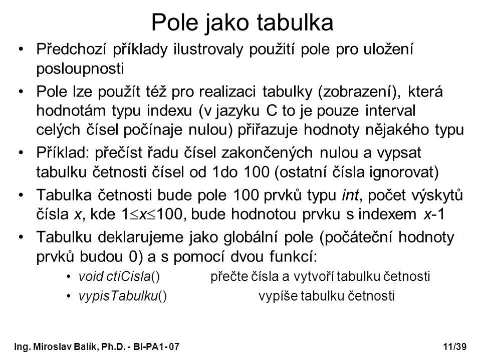 Ing. Miroslav Balík, Ph.D. - BI-PA1- 0711/39 Pole jako tabulka Předchozí příklady ilustrovaly použití pole pro uložení posloupnosti Pole lze použít té