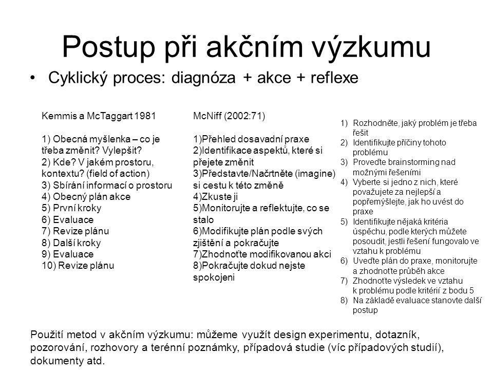Postup při akčním výzkumu Cyklický proces: diagnóza + akce + reflexe Kemmis a McTaggart 1981 1) Obecná myšlenka – co je třeba změnit? Vylepšit? 2) Kde