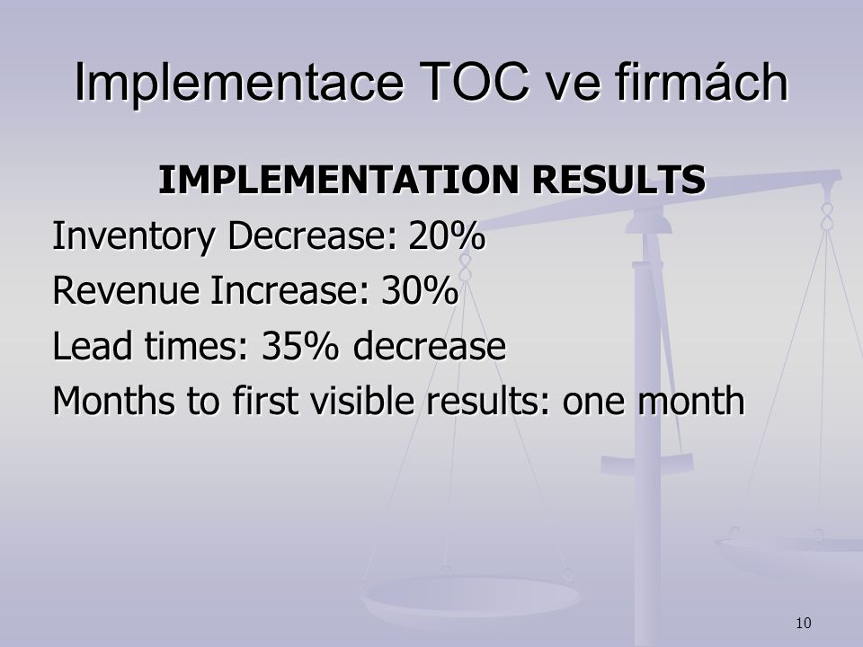 9 Implementace TOC ve firmách National Semiconductor Revenue: $2,500,000,000 Number of employees: 12,000 Implementation Date: 2000 TOC Applications: T
