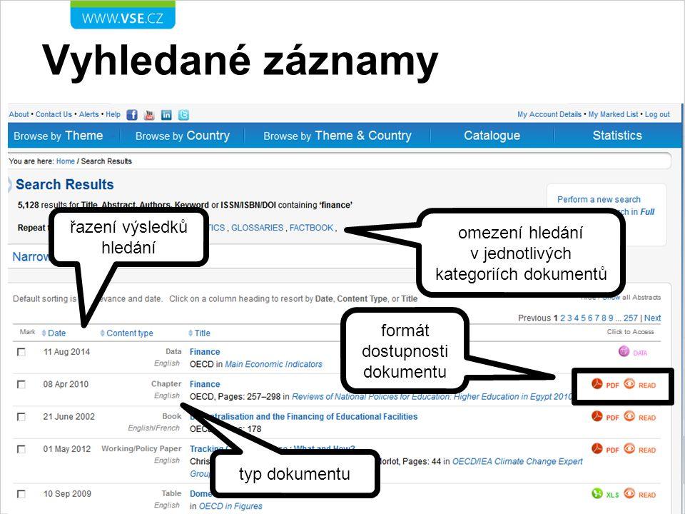 Práce s výsledkem hledání info o zdrojovém dokumentu dokument je přístupný vytvoření citace grafy obsažené v dokumentu
