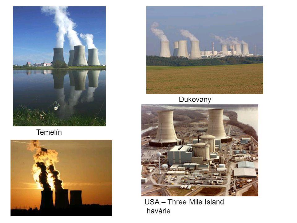 USA – Three Mile Island havárie Dukovany Temelín
