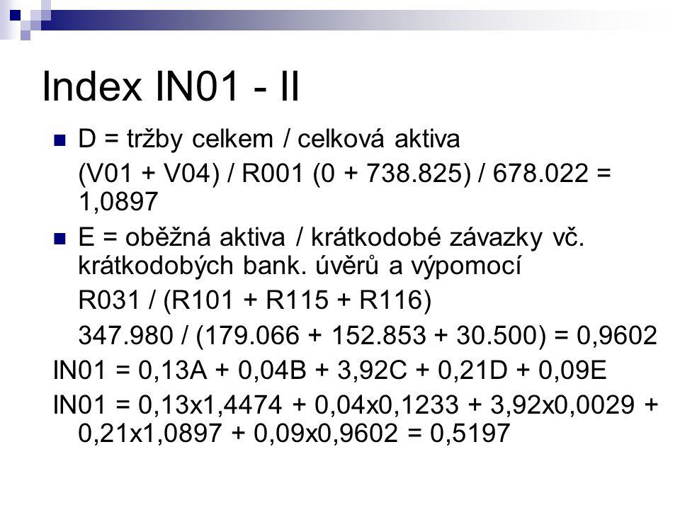Index IN01 - II D = tržby celkem / celková aktiva (V01 + V04) / R001 (0 + 738.825) / 678.022 = 1,0897 E = oběžná aktiva / krátkodobé závazky vč. krátk