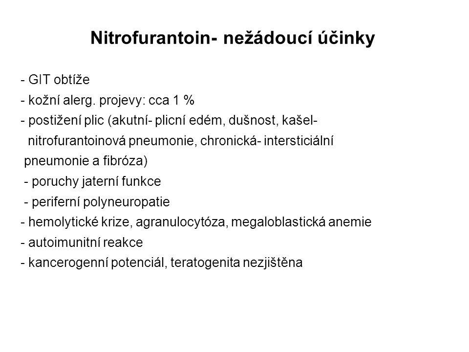 Nitrofurantoin- nežádoucí účinky - GIT obtíže - kožní alerg. projevy: cca 1 % - postižení plic (akutní- plicní edém, dušnost, kašel- nitrofurantoinová
