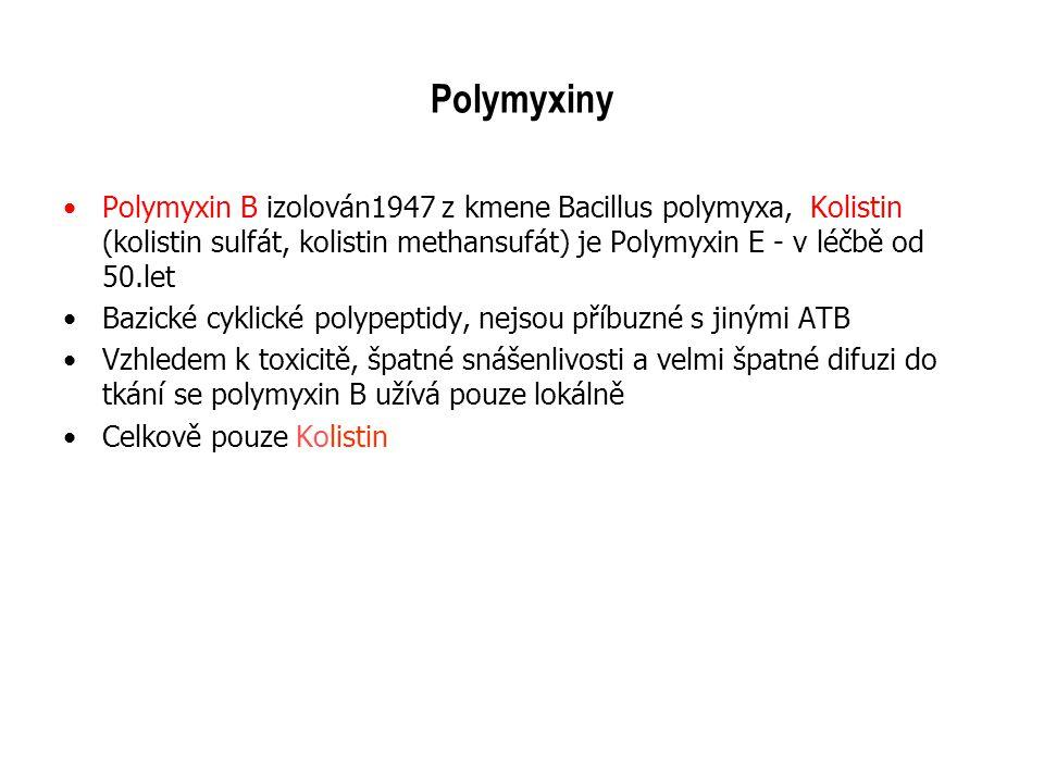 Polymyxiny Polymyxin B izolován1947 z kmene Bacillus polymyxa, Kolistin (kolistin sulfát, kolistin methansufát) je Polymyxin E - v léčbě od 50.let Baz