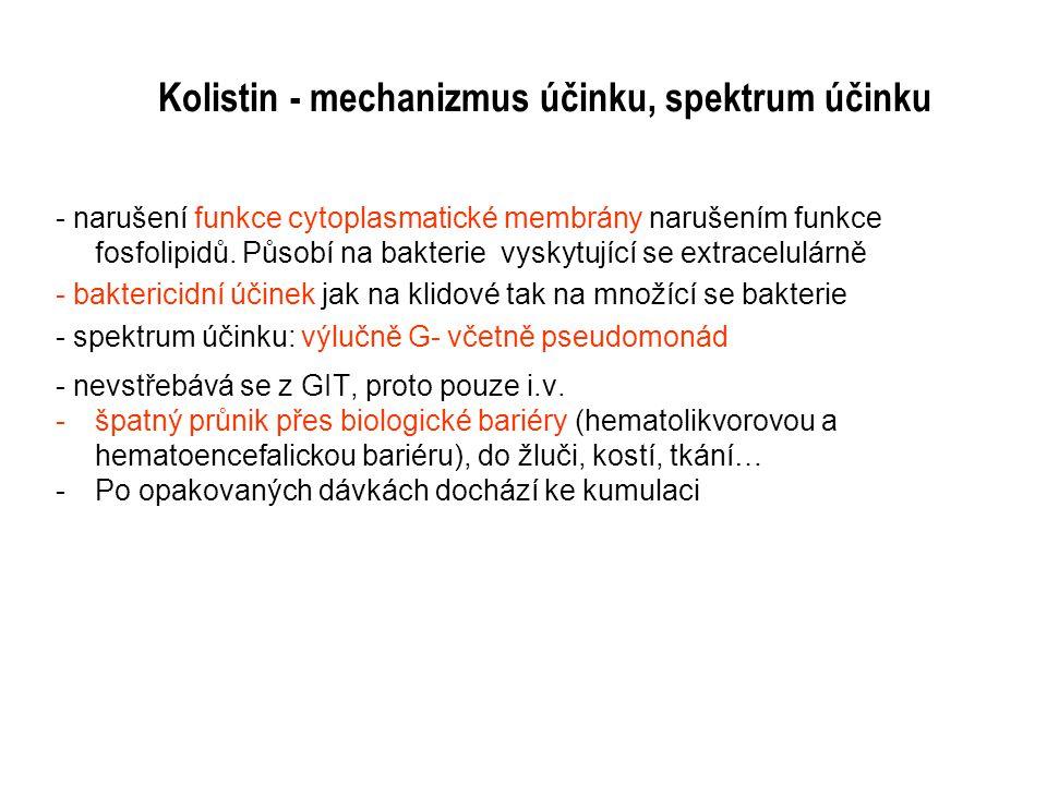 Kolistin - mechanizmus účinku, spektrum účinku - narušení funkce cytoplasmatické membrány narušením funkce fosfolipidů. Působí na bakterie vyskytující