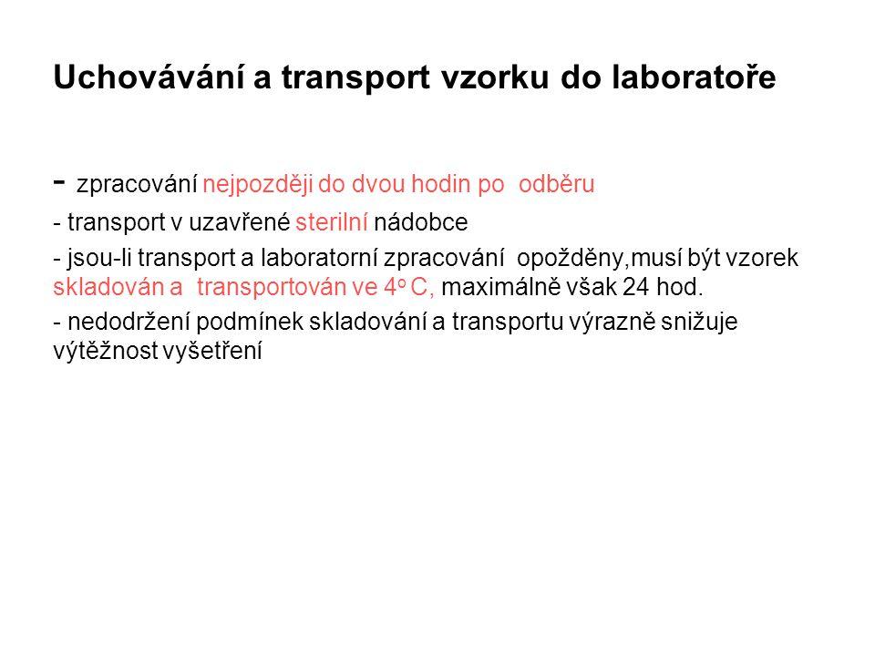 Uchovávání a transport vzorku do laboratoře - zpracování nejpozději do dvou hodin po odběru - transport v uzavřené sterilní nádobce - jsou-li transpor