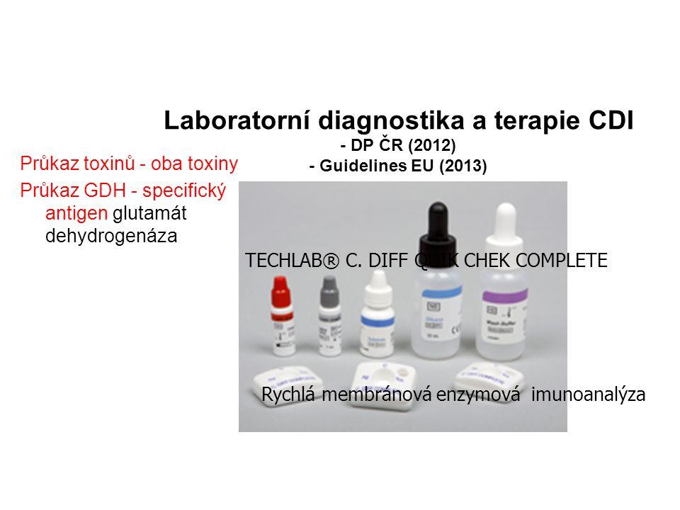 Laboratorní diagnostika a terapie CDI - DP ČR (2012) - Guidelines EU (2013) Průkaz toxinů - oba toxiny Průkaz GDH - specifický antigen glutamát dehydr