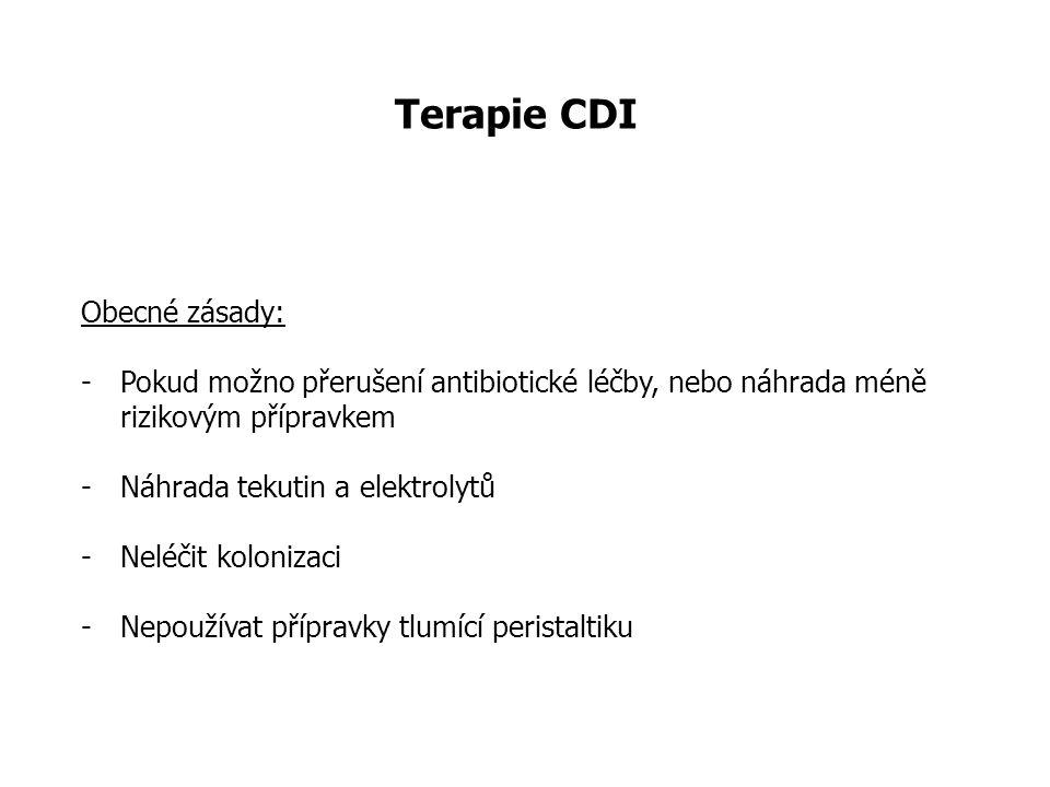Terapie CDI Obecné zásady: -Pokud možno přerušení antibiotické léčby, nebo náhrada méně rizikovým přípravkem -Náhrada tekutin a elektrolytů -Neléčit k