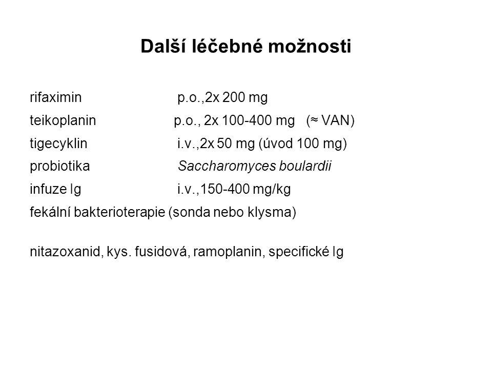 Další léčebné možnosti rifaximinp.o.,2x 200 mg teikoplanin p.o., 2x 100-400 mg (≈ VAN) tigecyklini.v.,2x 50 mg (úvod 100 mg) probiotikaSaccharomyces b