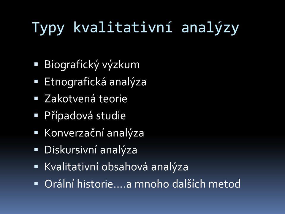 Typy kvalitativní analýzy  Biografický výzkum  Etnografická analýza  Zakotvená teorie  Případová studie  Konverzační analýza  Diskursivní analýza  Kvalitativní obsahová analýza  Orální historie….a mnoho dalších metod