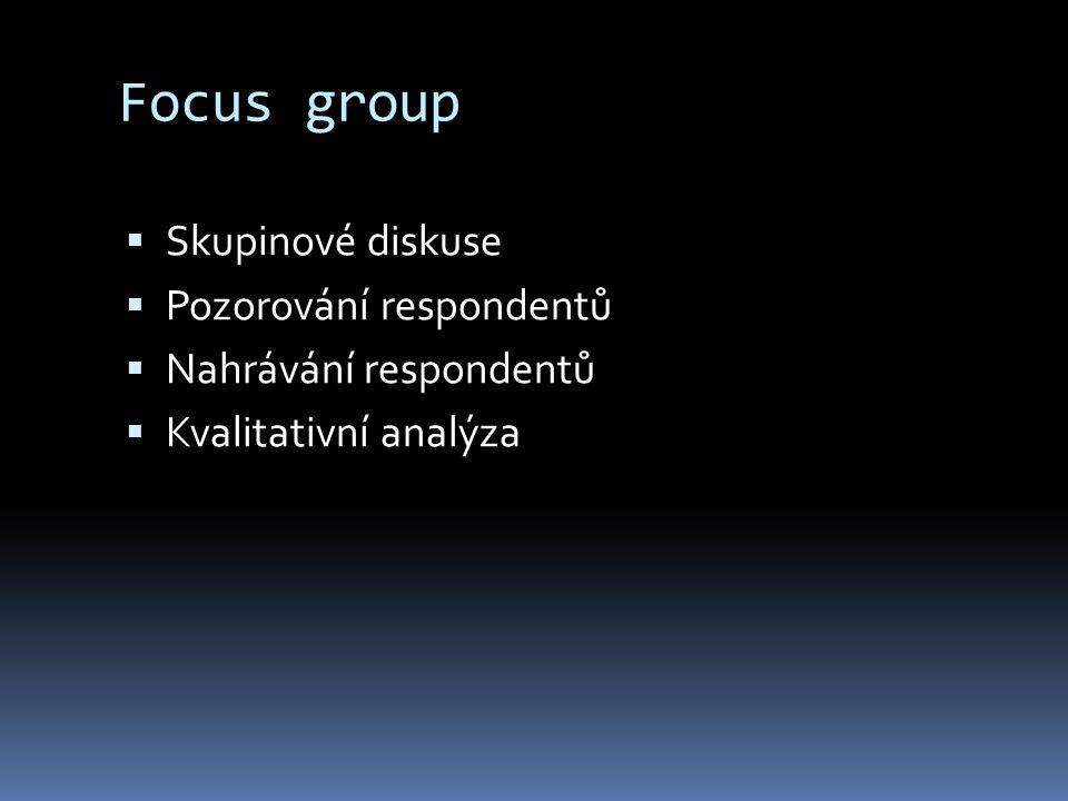 Focus group  Skupinové diskuse  Pozorování respondentů  Nahrávání respondentů  Kvalitativní analýza