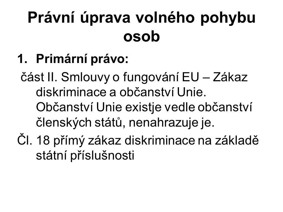 Právní úprava volného pohybu osob 1.Primární právo: část II. Smlouvy o fungování EU – Zákaz diskriminace a občanství Unie. Občanství Unie existje vedl