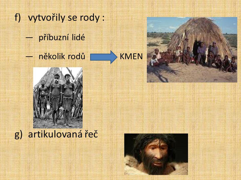 f)vytvořily se rody : —příbuzní lidé —několik rodů KMEN g)artikulovaná řeč