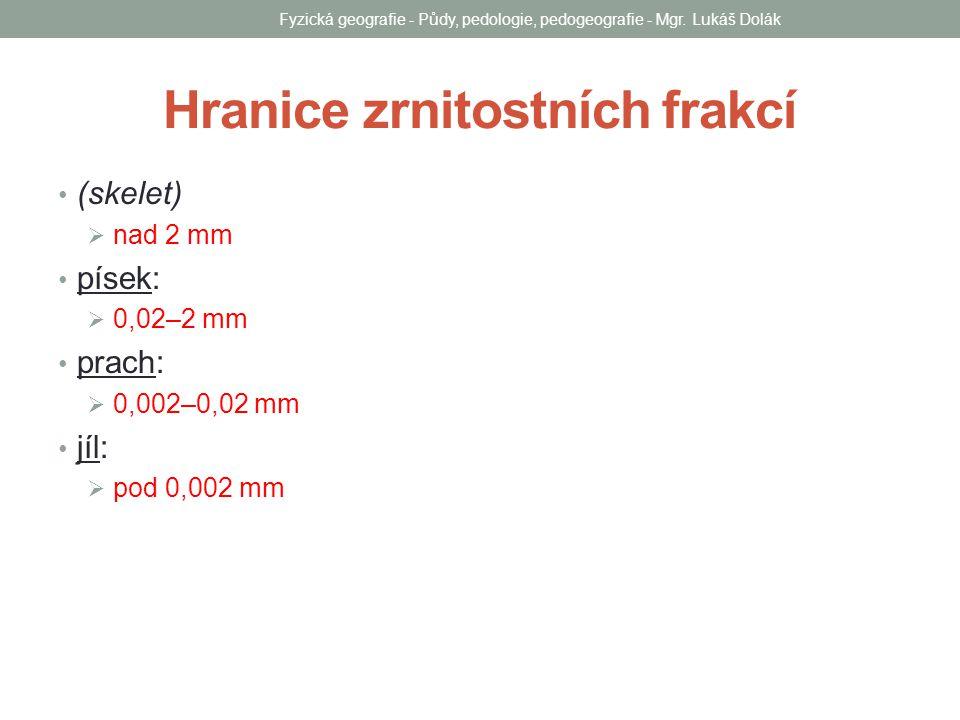 Hranice zrnitostních frakcí (skelet)  nad 2 mm písek:  0,02–2 mm prach:  0,002–0,02 mm jíl:  pod 0,002 mm Fyzická geografie - Půdy, pedologie, ped