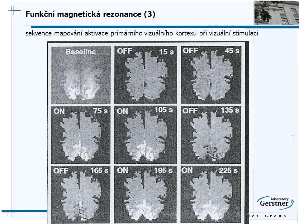 B i o c y b e r n e t i c s G r o u p Funkční magnetická rezonance (3) sekvence mapování aktivace primárního vizuálního kortexu při vizuální stimulaci