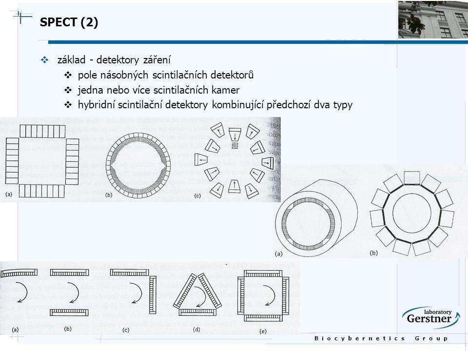 B i o c y b e r n e t i c s G r o u p SPECT (2)  základ - detektory záření  pole násobných scintilačních detektorů  jedna nebo více scintilačních k