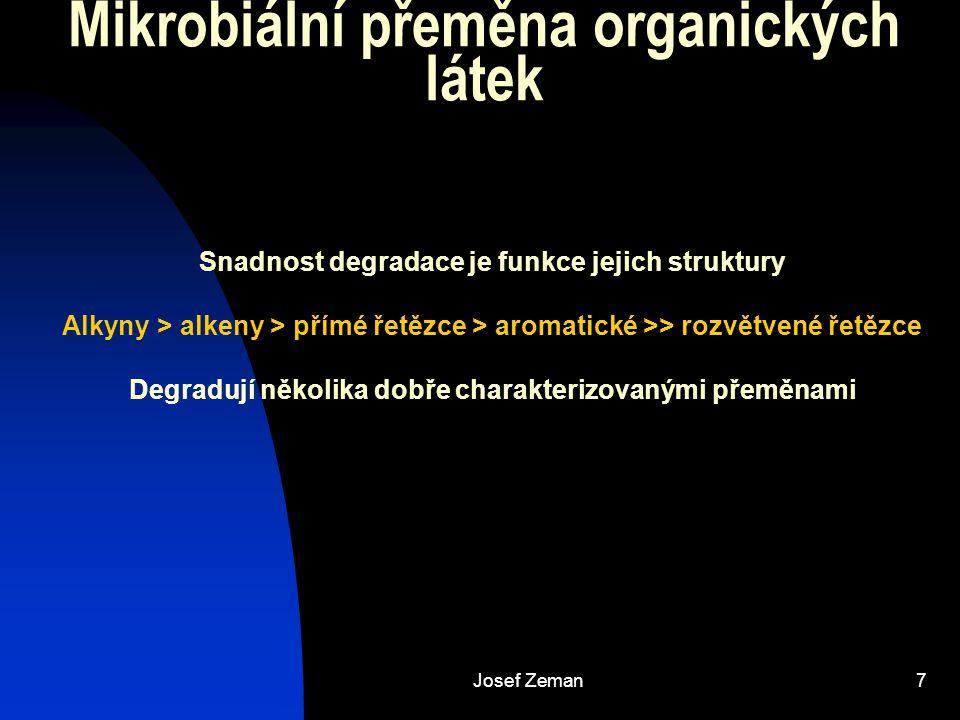 Josef Zeman7 Mikrobiální přeměna organických látek Snadnost degradace je funkce jejich struktury Alkyny > alkeny > přímé řetězce > aromatické >> rozvětvené řetězce Degradují několika dobře charakterizovanými přeměnami