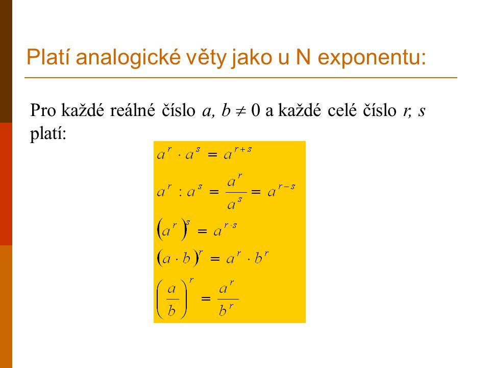 Pro každé reálné číslo a, b  0 a každé celé číslo r, s platí: Platí analogické věty jako u N exponentu: