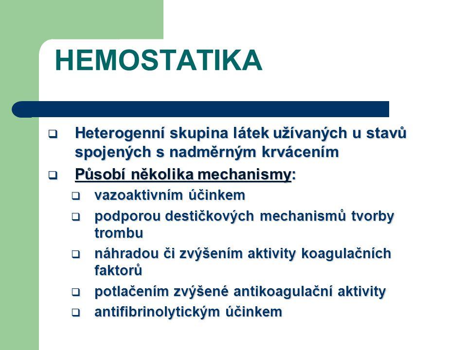 HEMOSTATIKA  Heterogenní skupina látek užívaných u stavů spojených s nadměrným krvácením  Působí několika mechanismy:  vazoaktivním účinkem  podporou destičkových mechanismů tvorby trombu  náhradou či zvýšením aktivity koagulačních faktorů  potlačením zvýšené antikoagulační aktivity  antifibrinolytickým účinkem