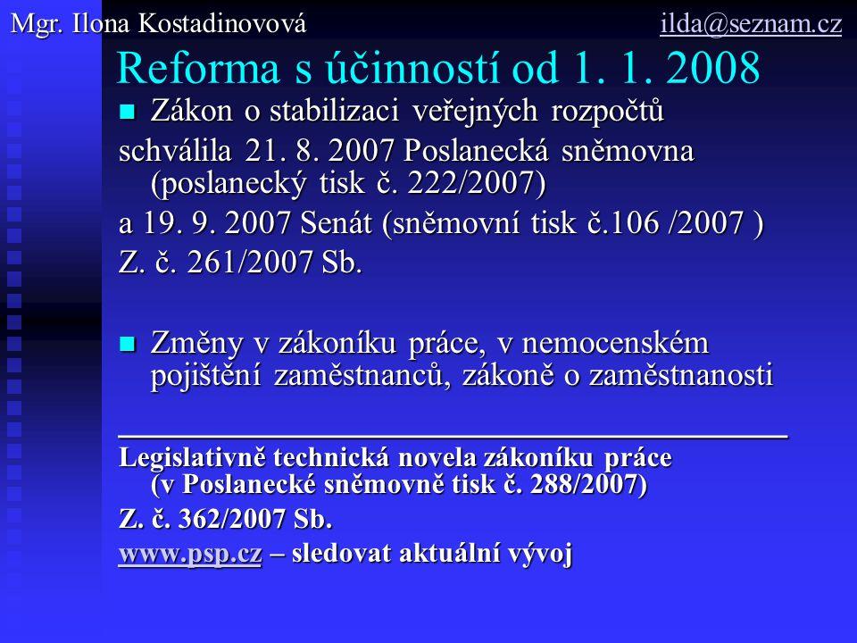 Reforma s účinností od 1. 1.