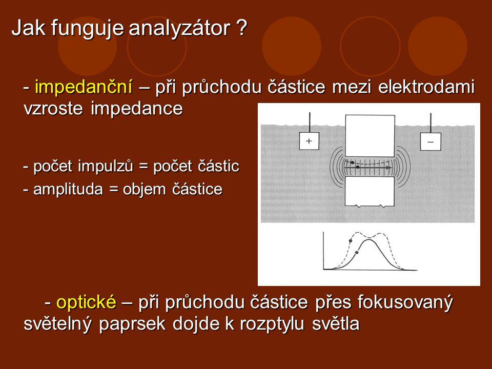 Jak funguje analyzátor ? Jak funguje analyzátor ? - impedanční – při průchodu částice mezi elektrodami vzroste impedance - impedanční – při průchodu č