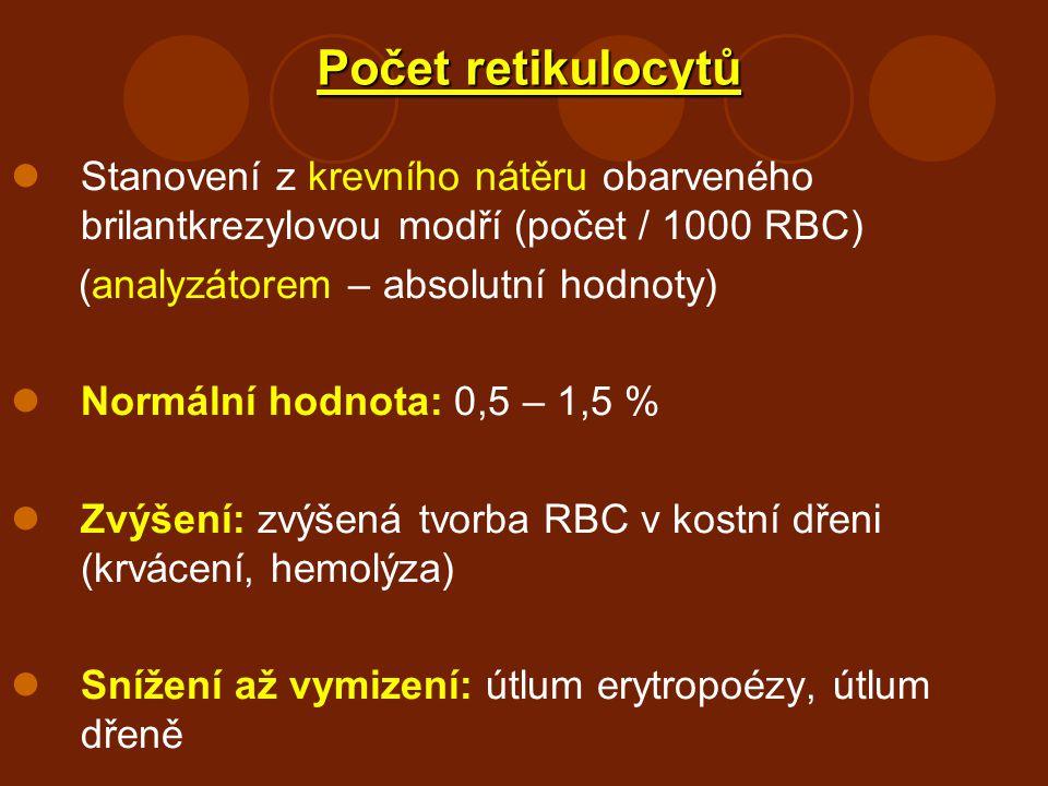 Počet retikulocytů Stanovení z krevního nátěru obarveného brilantkrezylovou modří (počet / 1000 RBC) (analyzátorem – absolutní hodnoty) Normální hodno