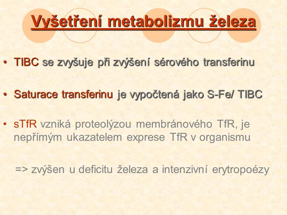 Vyšetření metabolizmu železa TIBC se zvyšuje při zvýšení sérového transferinuTIBC se zvyšuje při zvýšení sérového transferinu Saturace transferinu je