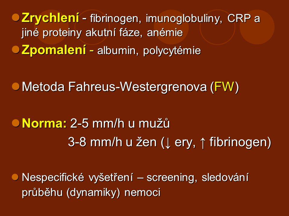 Zrychlení - fibrinogen, imunoglobuliny, CRP a jiné proteiny akutní fáze, anémie Zrychlení - fibrinogen, imunoglobuliny, CRP a jiné proteiny akutní fáz