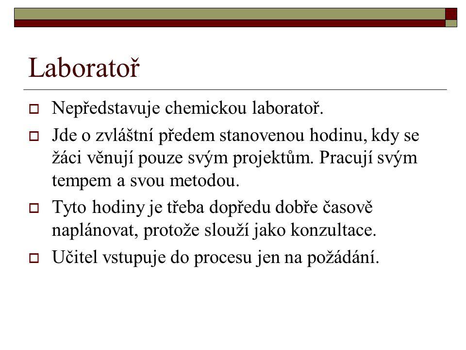 Laboratoř  Nepředstavuje chemickou laboratoř.  Jde o zvláštní předem stanovenou hodinu, kdy se žáci věnují pouze svým projektům. Pracují svým tempem