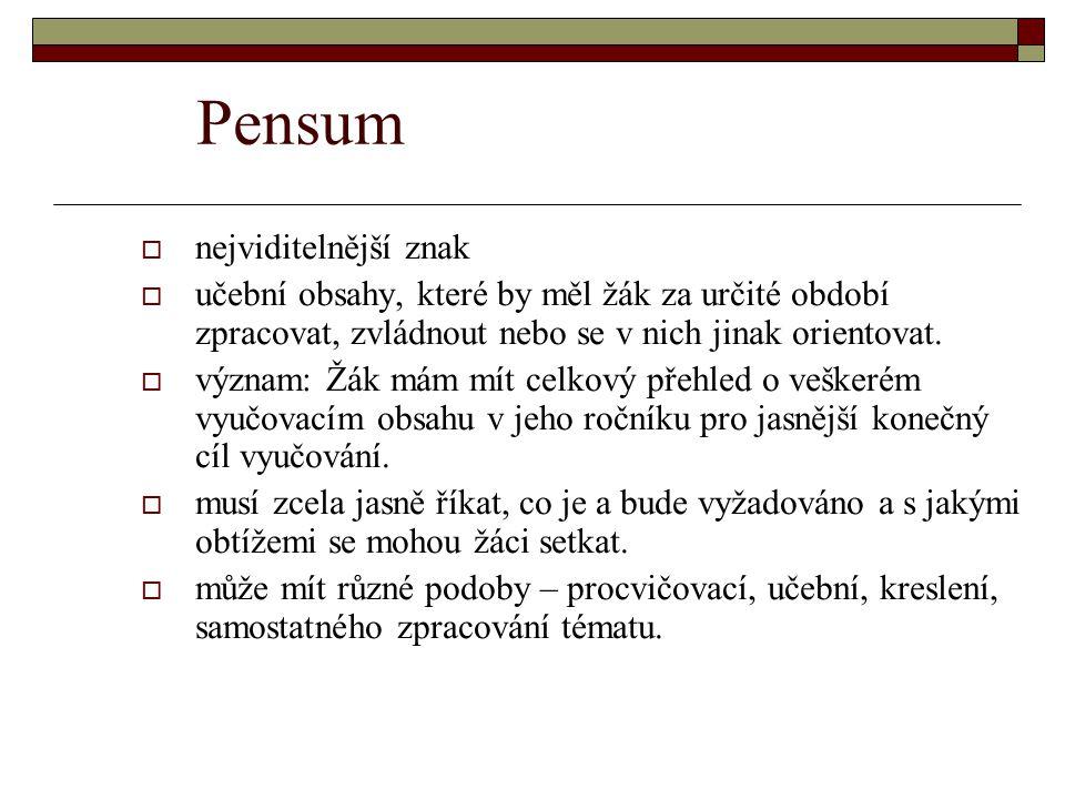 Pensum  nejviditelnější znak  učební obsahy, které by měl žák za určité období zpracovat, zvládnout nebo se v nich jinak orientovat.  význam: Žák m