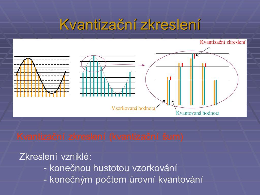 Kvantizační zkreslení Kvantizační zkreslení (kvantizační šum) Zkreslení vzniklé: - konečnou hustotou vzorkování - konečným počtem úrovní kvantování
