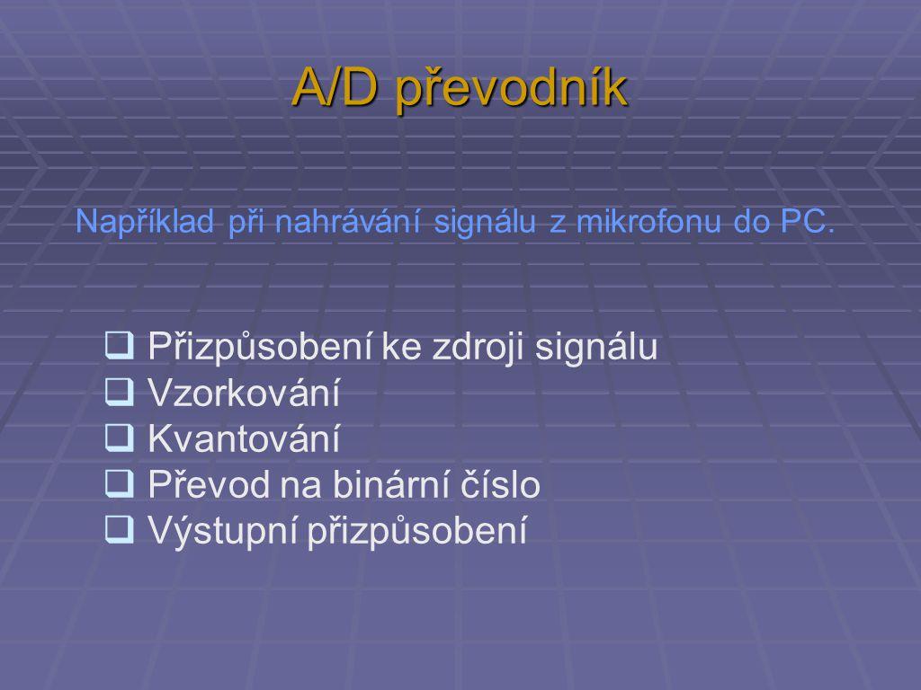 A/D převodník Přizpůsobení ke zdroji signálu  Přizpůsobení ke zdroji signálu  Mikrofon – 0,003 V  Mikrofon s předzesilovačem – 0,1 V  Výstup z mixážního pultu – 1,5 V  …