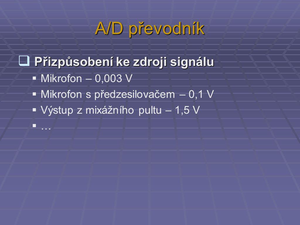 A/D převodník Vzorkování  Vzorkování vzorkovací frekvence: f s = 1 TsTs