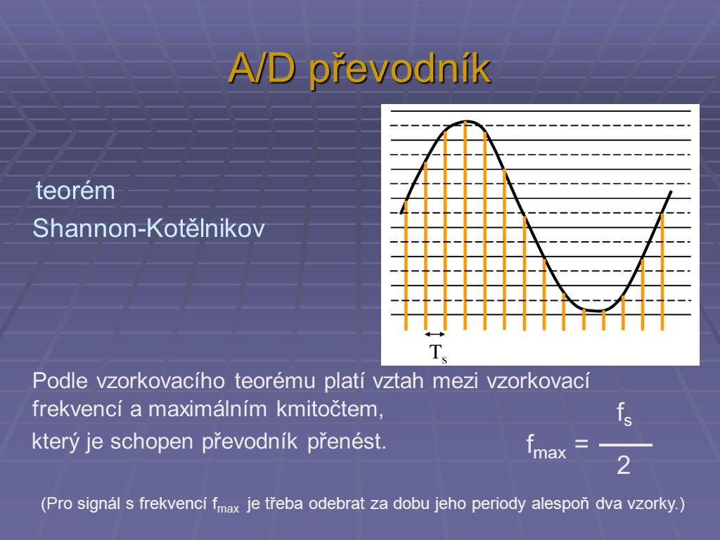 A/D převodník teorém Shannon-Kotělnikov Podle vzorkovacího teorému platí vztah mezi vzorkovací frekvencí a maximálním kmitočtem, který je schopen převodník přenést.