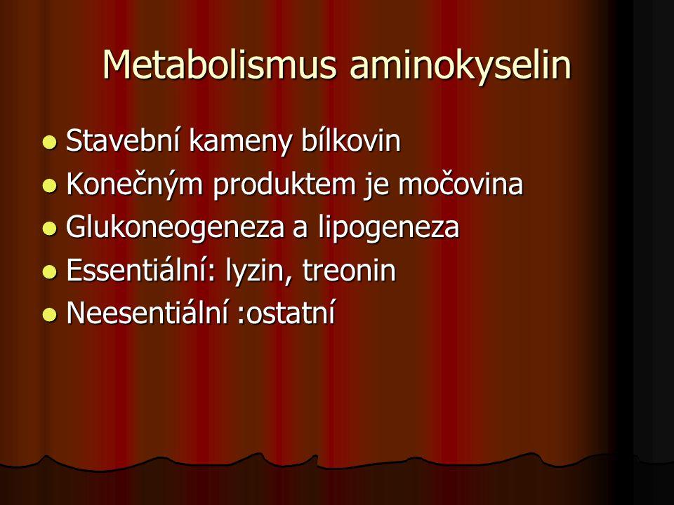 Metabolismus aminokyselin Stavební kameny bílkovin Stavební kameny bílkovin Konečným produktem je močovina Konečným produktem je močovina Glukoneogene