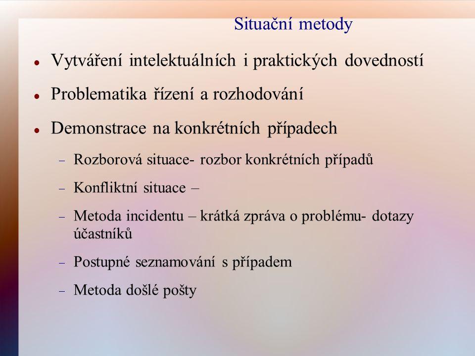 Situační metody Vytváření intelektuálních i praktických dovedností Problematika řízení a rozhodování Demonstrace na konkrétních případech  Rozborová