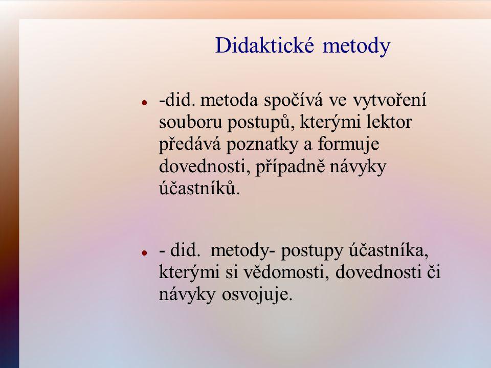 Didaktické metody -did. metoda spočívá ve vytvoření souboru postupů, kterými lektor předává poznatky a formuje dovednosti, případně návyky účastníků.